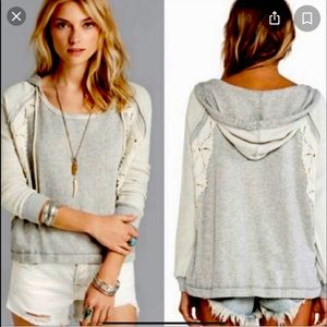 EUC FREE PEOPLE Only You Grey Lace Hoodie Size XS